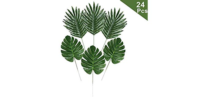 LJDJ artificial palm Leaves - Synthetic Shower Plants