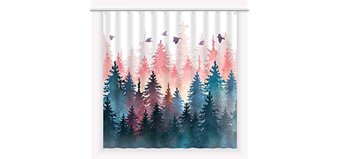 EGoing Anti-Moisture - Printed Shower Curtains for Small Bathrooms