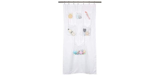 Mrs Awesome Fabric - Shower Curtains with Storage Pockets for Small Bathrooms