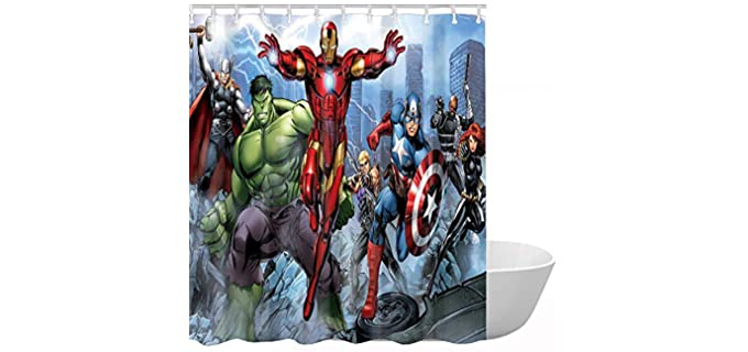 ClSCZLprints 100% Polyester - Funny Marvel Shower Curtain
