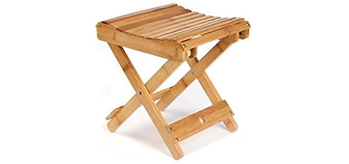 ETechmart Folding - Wooden Shower Bench Seat