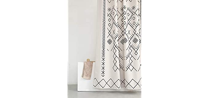 YoKII Beige - Trellis Geometrial Shower Curtain
