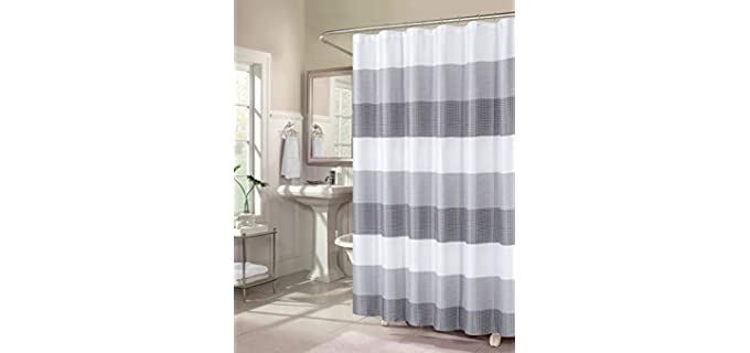Dainty Home Ombre - Striped Waffle Weave Shower Curtain