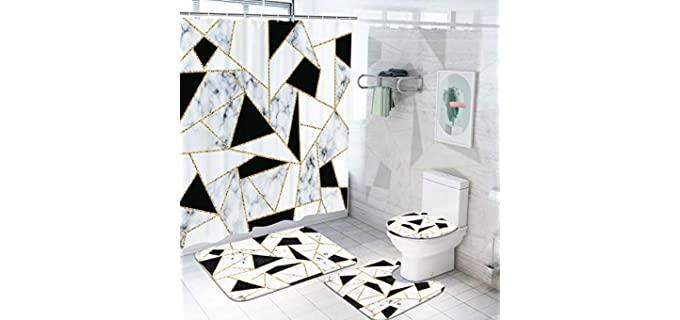 Ikfashoni White Geometric - Waterproof Marble Shower Curtain