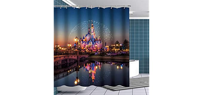 Fuortia Disney Castle - Polyester Shower Curtain