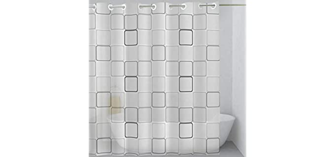 Monkeyzon Hookless - Geometric Print Shower Curtain
