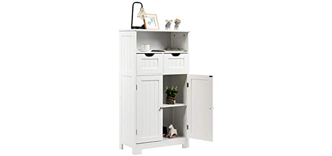 Tangkula Custom - White Bathroom Cabinet