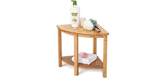 OasisSpace Bamboo - Shower Corner Bench Seat