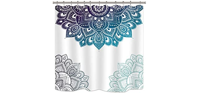 Riyidecor Blue - Mandala Boho Chic Shower Curtain